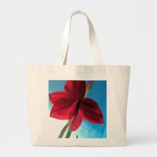 108a Vivid red Amaryllis Flower Large Tote Bag