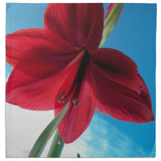 108a Vivid red Amaryllis Flower Napkin