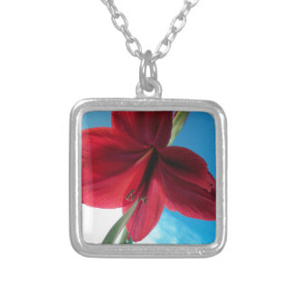108a Vivid red Amaryllis Flower Silver Plated Necklace
