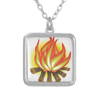 109Fire _rasterized Silver Plated Necklace
