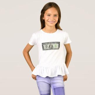 $10,000 Spaniel Note Girl's Ruffle T-Shirt