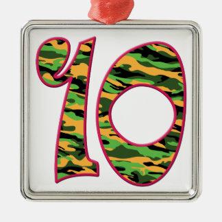 10 Age Camo Silver-Colored Square Ornament