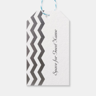 10 Bilingual Chic Silver Chevron Guest Name Tag Pack Of Gift Tags