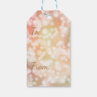 10 Bokeh Gift Tags, Pale Blush Pink Blurry Lights Pack Of Gift Tags