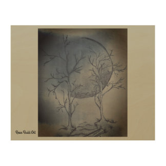 "10""by 8""wood wall art nights moon"