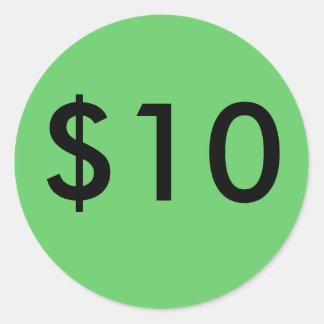 $10 CLASSIC ROUND STICKER