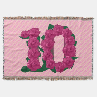 10 cute pink rose flowers 10th anniversary blanket throw blanket