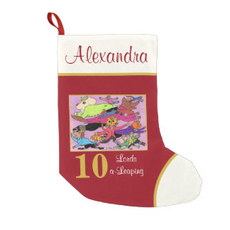 10 Lords a Leaping Cute Animals Custom Name Small Christmas Stocking