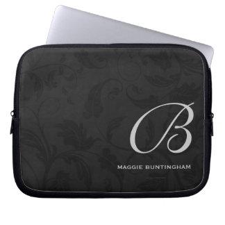 "10"" Monogrammed Black Damask Laptop Sleeve"