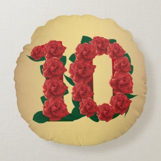 10 number anniversary 10th red rose custom text round pillow