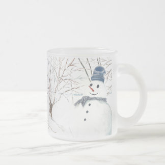 10 oz Frosted Glass Mug with Snowman