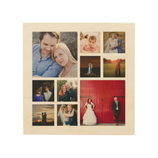 10 Photo Collage Wood Canvas Wall Art