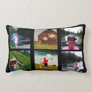 10 Photo Instagram Collage Black background Lumbar Pillow