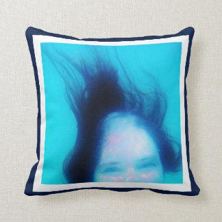 10 Photo Instagram Collage Blue background white Throw Pillow