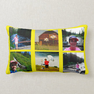10 Photo Instagram Collage yellow background Lumbar Pillow