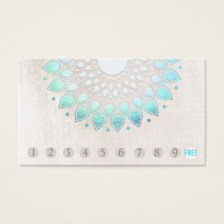 10 Punch Customer Loyalty Turquoise Lotus Business Card
