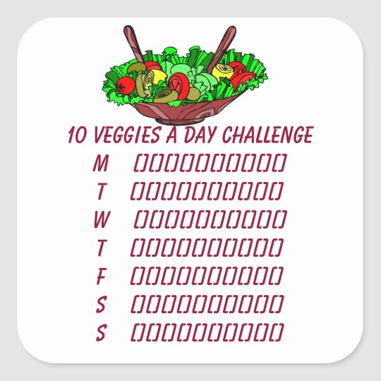 10 Veggies a Day Challenge Planner Sticker