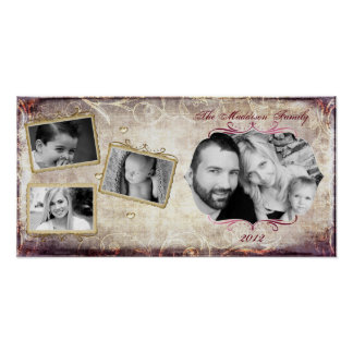 "10""x20"" 4 Slot Family Collage Montage Fleur De Lis Poster"