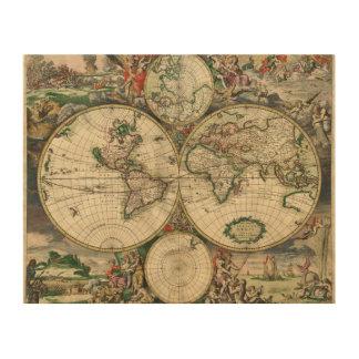 "10""x8"" Vintage World Map Wood Wall Art Wood Prints"