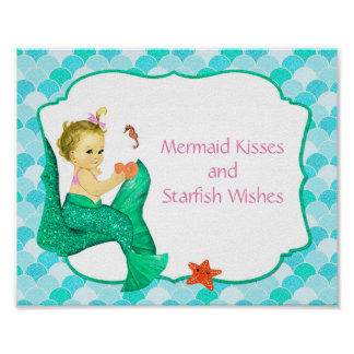 "10"" x 8"" Mermaid Baby Party Sign Poster"