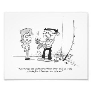 "10"" x 8"" Print - Fishing Cartoon - The Hobby Photograph"