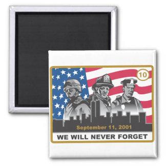 10 Year 9/11 Anniversary Design Square Magnet