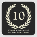 10 year milestone anniversary wreath black label square stickers