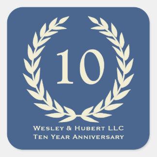 10 year milestone anniversary wreath navy label square sticker