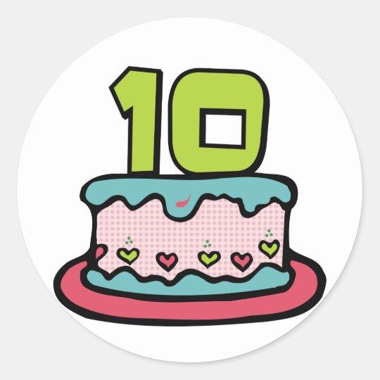 10 Year Old Birthday Cake Classic Round Sticker