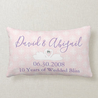 10 Year Wedding Anniversary Pink and white damask Lumbar Pillow