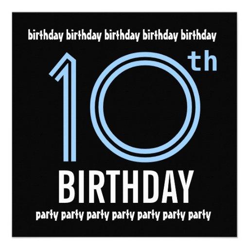 10ème W689 bleu de fête d'anniversaire et noir mod Faire-parts