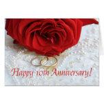 10èmes roses heureux d'anniversaire carte de vœux