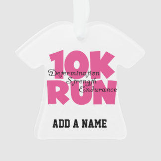 10K Run Pink Sports Running Ornament