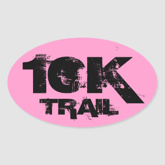10K Trail Running Oval Decal Black On Pink Oval Sticker