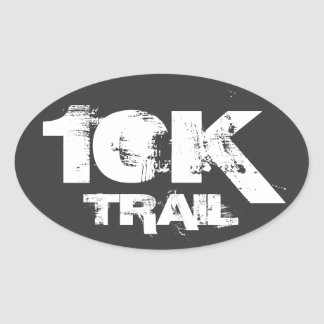 10K Trail Running Oval Decal White On Black Oval Sticker