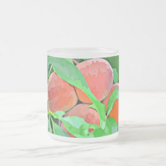"""10oz Frosted Glass Mug """"Peaches in Cartoon"""""""
