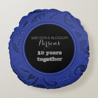 10th Anniversary Blue | Tenth Wedding Anniversary Round Pillow