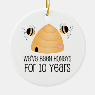 10th Anniversary Couple Gift Ceramic Ornament