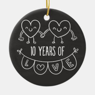 10th Anniversary Gift Chalk Hearts Ceramic Ornament