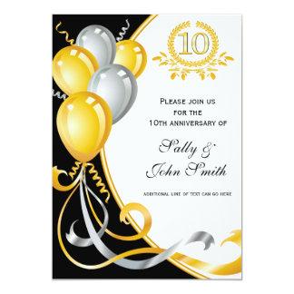 10th Anniversary Gold & Silver Birthday Invitation