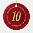 10th anniversary red wax seal ceramic ornament