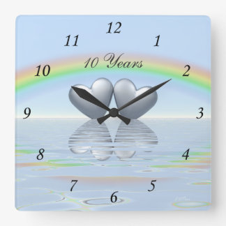10th Anniversary Tin Hearts Square Wall Clock
