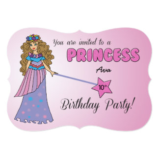 10th Bday Invitation Pink Princess w/ Sparkly Wand