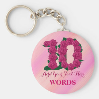 10th birthday 10 pink rose floral template keychain