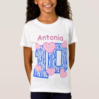 10th Birthday Blue Zebra Pink Hearts Custom Name 2 T-Shirt