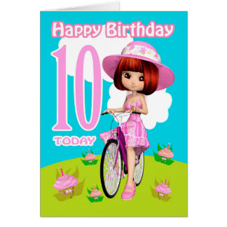 10th Birthday Card Little Girl On a Bicycle