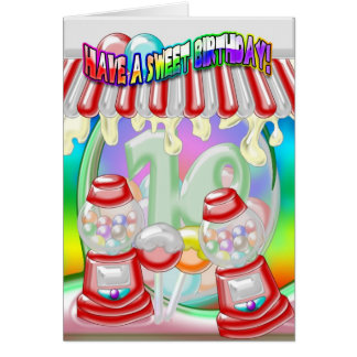 10th Birthday Card - Sweet Birthday - Gumballs And