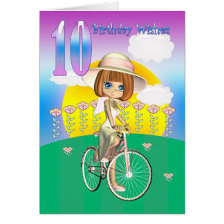 10th Birthday Card with little girl on bike