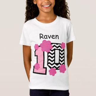 10th Birthday Chevrons Polka Dots Custom Name V03 T-Shirt