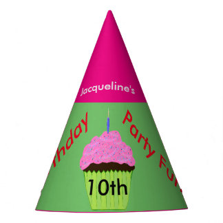 10th Birthday Cupcake Balloons Personalized Hats